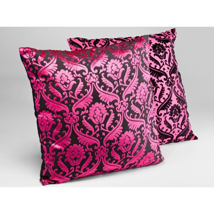 lot de 2 coussins baroque rose fuchsia 45x45 cm achat. Black Bedroom Furniture Sets. Home Design Ideas