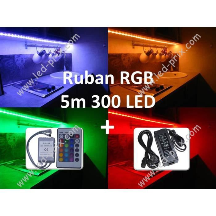 kit ruban led rgb 300 led multicolore 5m achat vente kit ruban led rgb 300 led m silicone. Black Bedroom Furniture Sets. Home Design Ideas