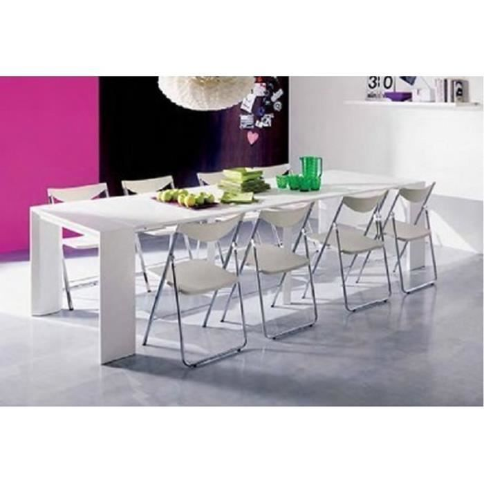table console laqu blanche 4 rallonges achat vente console extensible table console