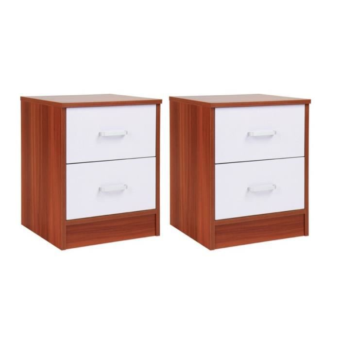 2 tables de nuit chevet avec tiroir armoire meuble chambre 1401066 achat vente chevet 2. Black Bedroom Furniture Sets. Home Design Ideas