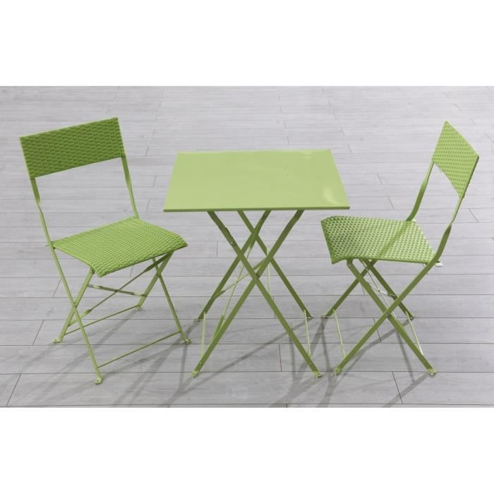 Ensemble table de jardin 2 chaises r sine tress e vert for Table et chaise de jardin resine tressee