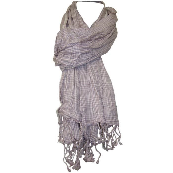 CHECHE ECHARPE FOULARD CARREAUX FRANGES ROSE   BLANC - Achat   Vente ... d78a13be04f