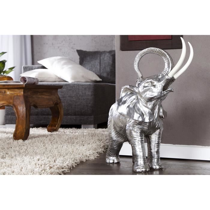 d co design l phant argent de 29 cm achat vente statue statuette polyr sine cdiscount. Black Bedroom Furniture Sets. Home Design Ideas