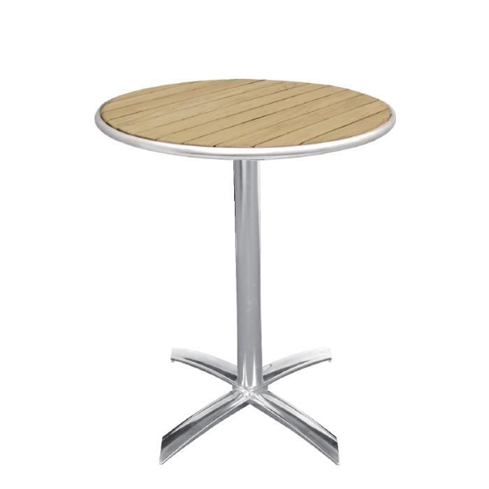Table bistro ronde pliable en aluminium et fr ne achat for Table 7 bistro