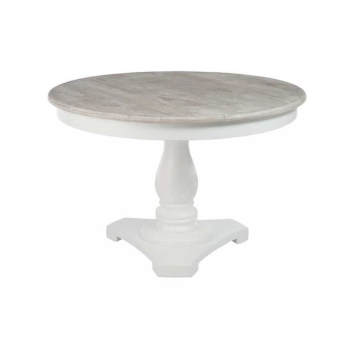 Table ronde blanche avec pied central plateau bois naturel for Table ronde blanche