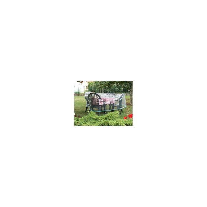 BACHES DIRECT - Housse de protection pour table ronde + chaises - Housse  salon de jardin - bache jardin