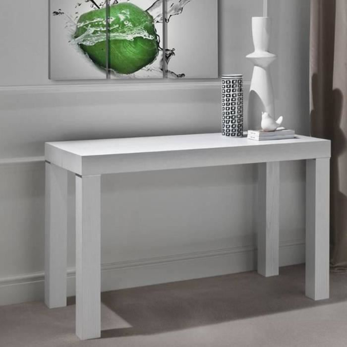 Console extensible pratika blanche en bois 120 x 55 cm for Table extensible 80 cm de large
