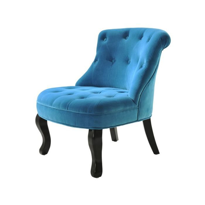 vivaldi fauteuil crapaud capitonn velours bleu achat vente fauteuil mati re du rev tement. Black Bedroom Furniture Sets. Home Design Ideas