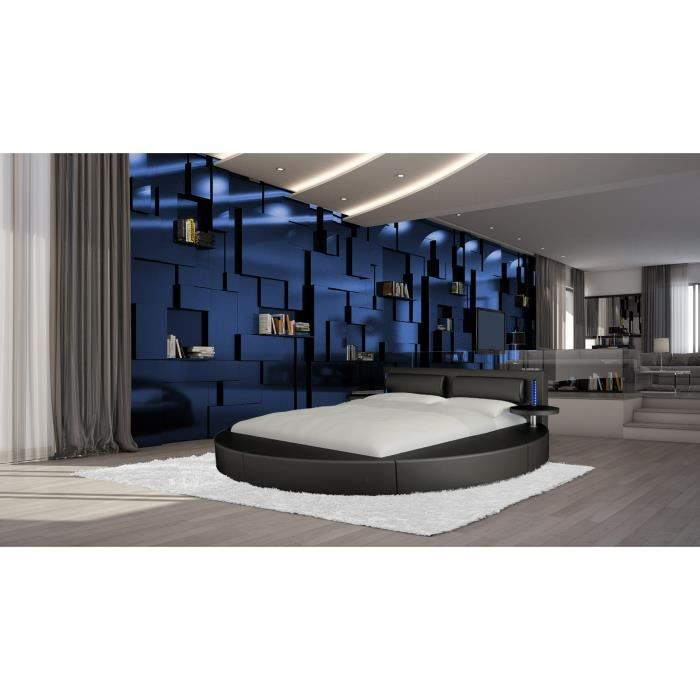 lit rond vonn avec tablettes clairage led et sommier 180 x 200 cm achat vente lit. Black Bedroom Furniture Sets. Home Design Ideas