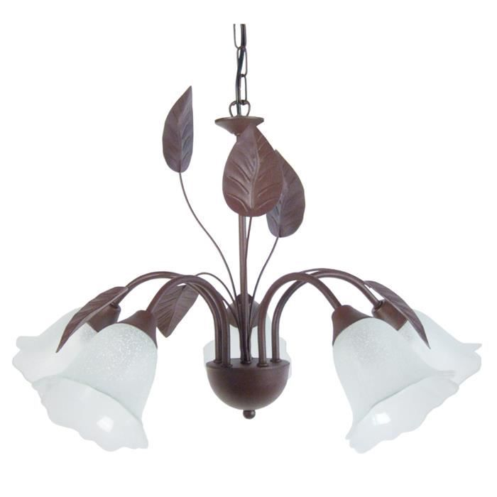 lustre et suspension glantine lustre suspension fer forge 5 lum marron. Black Bedroom Furniture Sets. Home Design Ideas