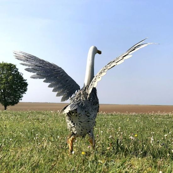 chemin/_de/_campagne Animaux Oiseau Oie Jar Canard D/écoration D/éco Jardin Fer 75 cm x 38 cm