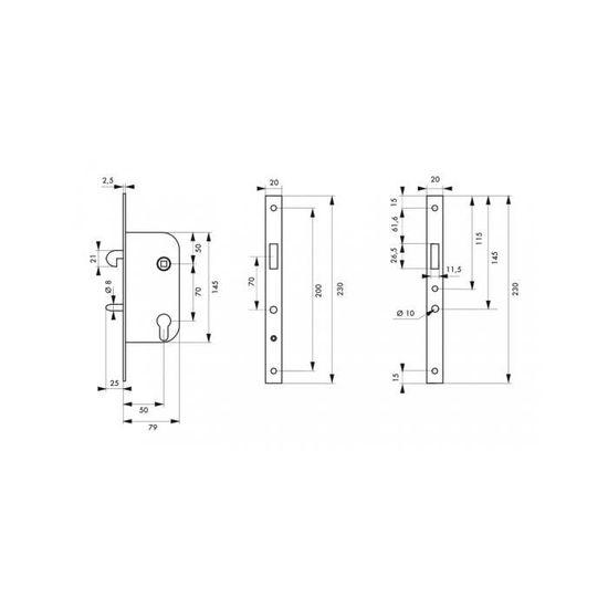 Thirard Boitier de serrure encastrable /à mentonnet v//br pour porte coulissante