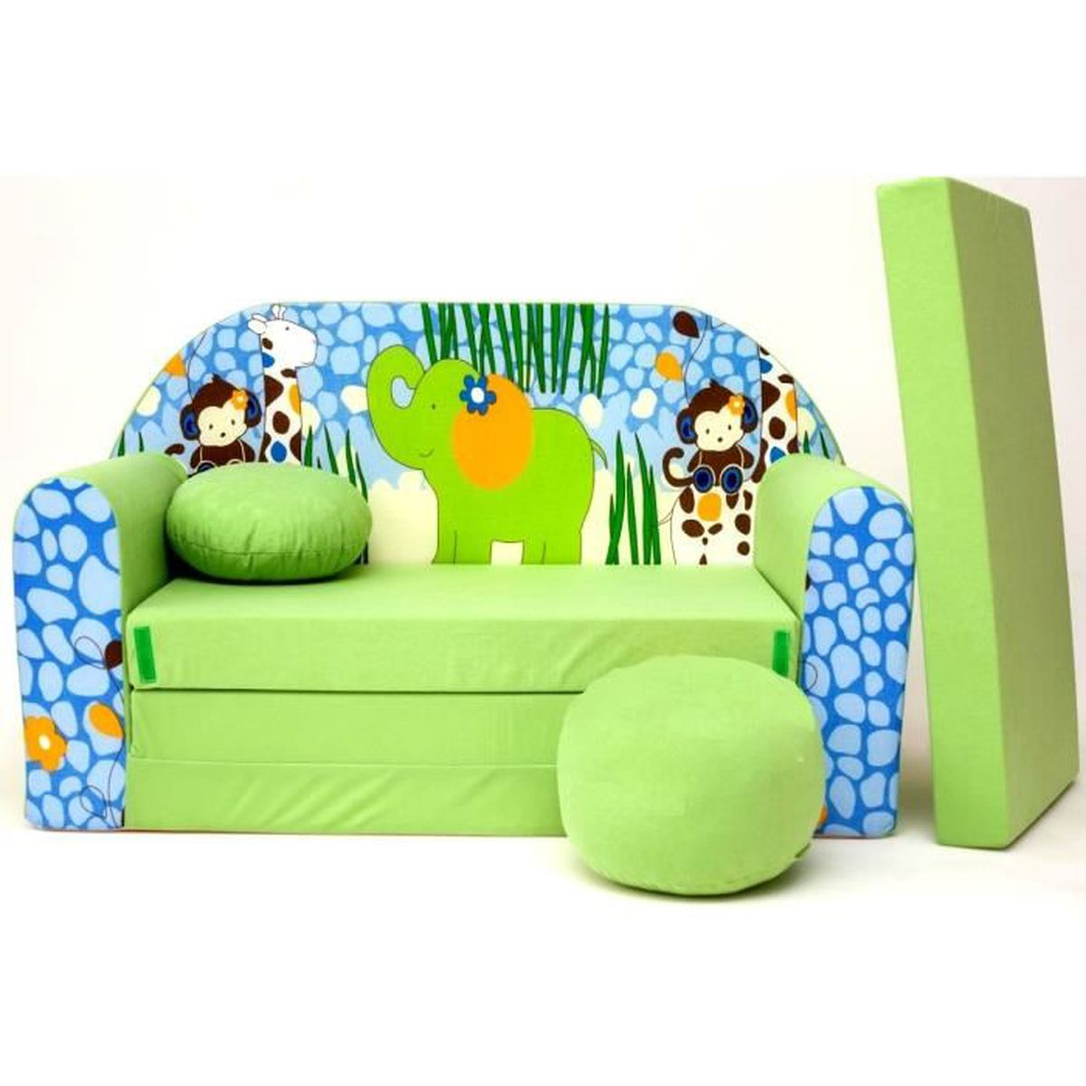 Canape sofa enfant 2 places convertible zoo afrique for Canape enfant 2 places