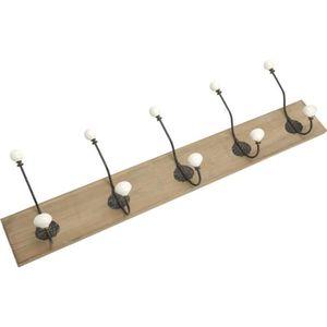 PATÈRE Patère bois avec crochets en métal Cesar 5 crochet