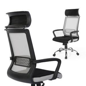 CHAISE DE BUREAU Chaise de Bureau en Tissu respiran noir Ergonomiqu