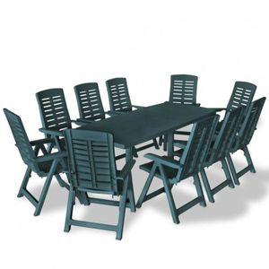 Salon de jardin 10 personnes en plastique vert- DM275082T ...