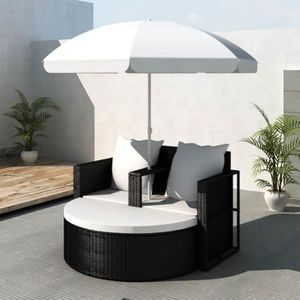 FAUTEUIL JARDIN  Canapé de jardin 2 places avec le parasol rond noi