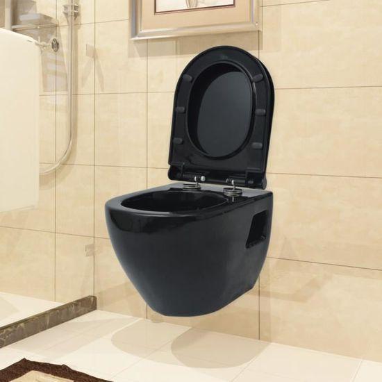 P180 vidaXL Toilette suspendue au mur avec reservoir Ceramique Noir