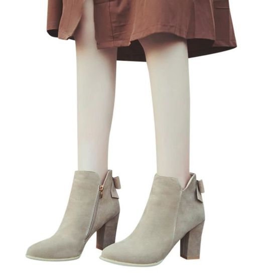 Les femmes Flcok Ponited Toe Bottes Bow Bottines Talons Zipper Martin Chaussures Beige Beige - Achat / Vente botte