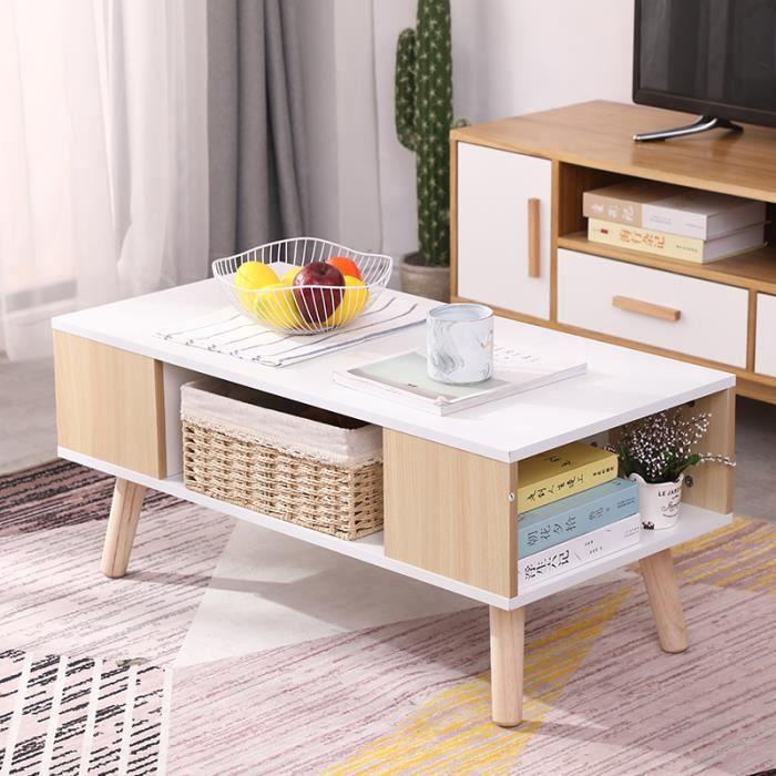 LAIZERE® Table Basse Blanche et Jaune - Style Scandinave