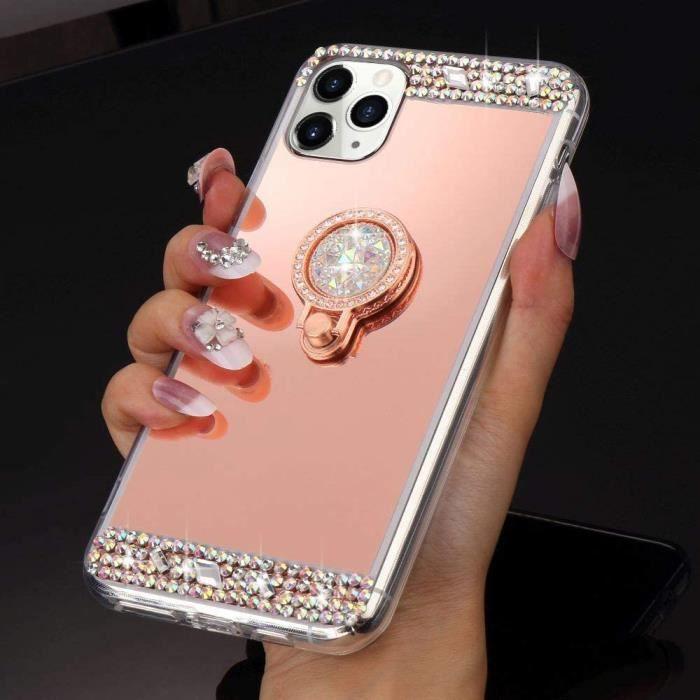 Coque iPhone 11 Pro Max Miroir Cristal Clair Coque avec Anneau Bague Paillettes Diamant Strass Dur PC Antichoc Bumper HousseZTE