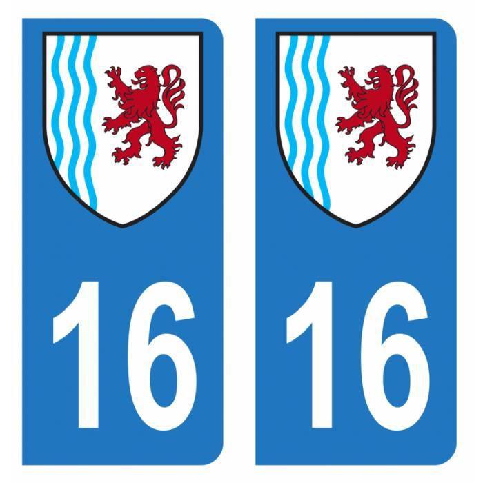 Lot 2 Autocollants Stickers plaque immatriculation voiture auto département 16 Charente Logo Région Nouvelle-Aquitaine