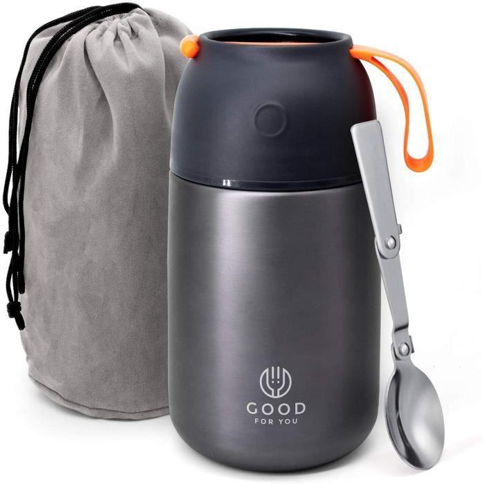 Thermos alimentaire de Good For You - Boîte à repas inoxydable pour repas chauds ou froids - Boîte à lunch pour école, bureau, c514