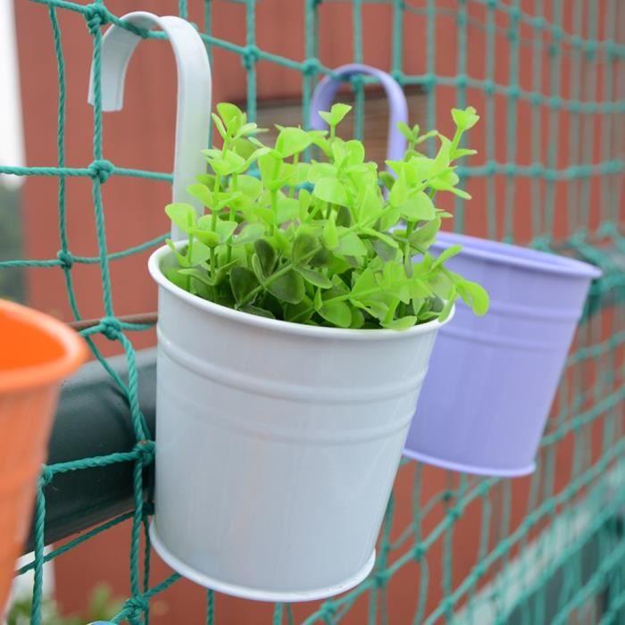 SKY 10 pièces-ensemble coloré suspendus Pot de fleur crochet mur Pots fer porte-fleurs balcon jardin planteur décor à la maison