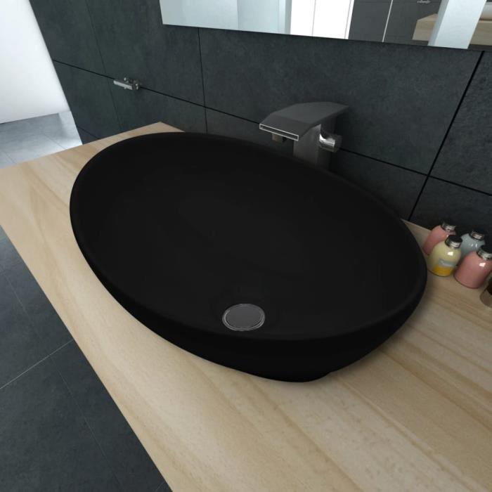 Lavabo Vasque à poser Salle de Bain Lave Main Haut de Gamme ovale Céramique 40 x 33 cm Noir