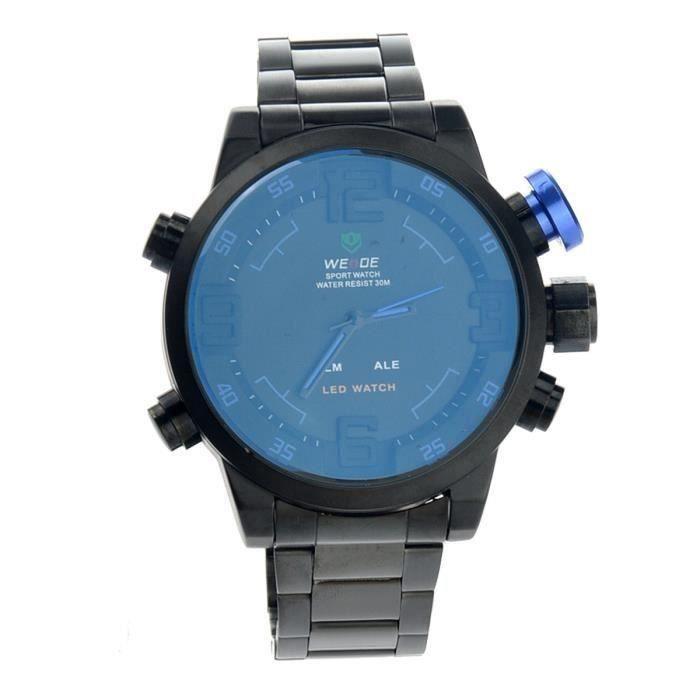Dual Time Sport Quartz numérique Montre LED de Weide WH-2309 étanche Hommes avec Date - Semaine - alarme (noir + bleu) C067E7