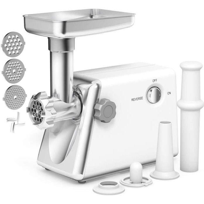 COSTWAY Hachoir à Viande Electrique Machine à Saucisses 1300W Inox Blanc avec 3 Grilles et 3 Larmes