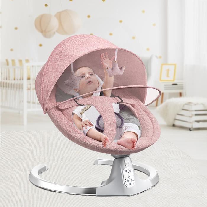 Balancelle bébé - Transat électrique - 5 Vitesses - Bluetooth Musique - Chaise Balançoire bébé - EU Prise Rose