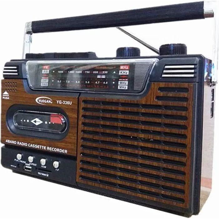 RADIO CD WUBAILI Lecteur Et Enregistreur De Cassette Radio Vintage Reacutetro Haute Fideacuteliteacute avec Reacuteglage Analogi1773