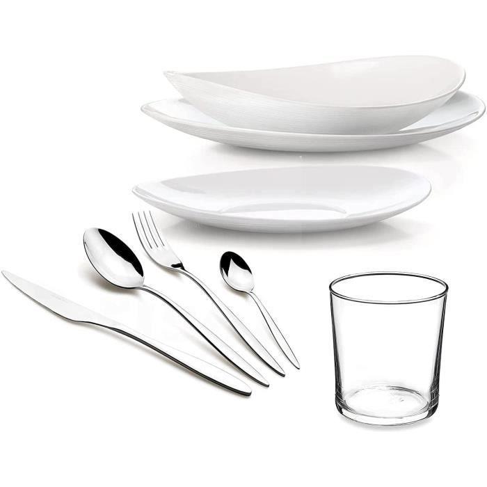 Bormioli Comas Service de table complet 12 personnes moderne et élégant 96 pièces Service de table (plats-fonds dessert)