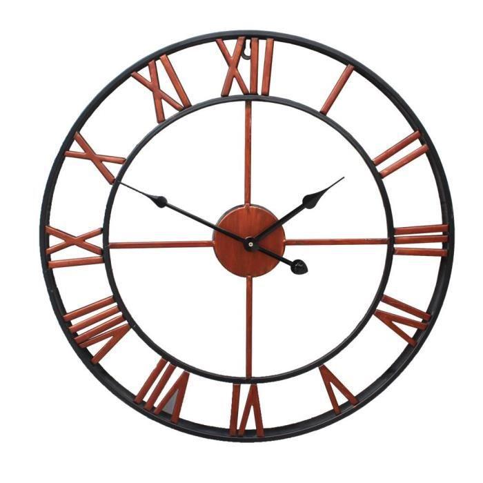 Horloge,Horloge murale 3D en fer noir, Design rétro, grand style nordique, avec chiffres romains, décoration - Type Rouge - 80cm