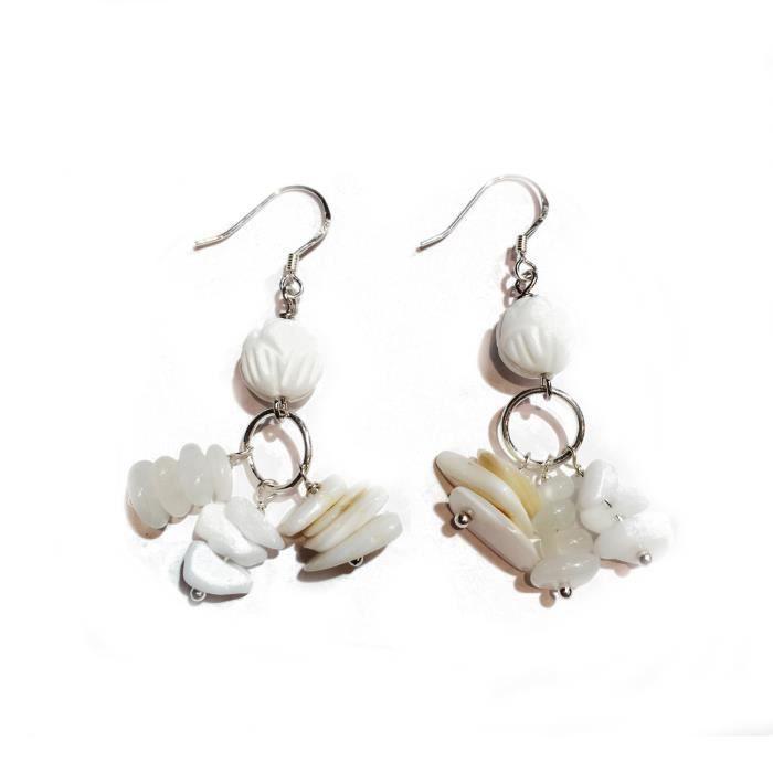 Boucles d'oreilles pendantes en argent 925 avec pierre de Lune , perle de nacre et agate , couleur pur et transparent