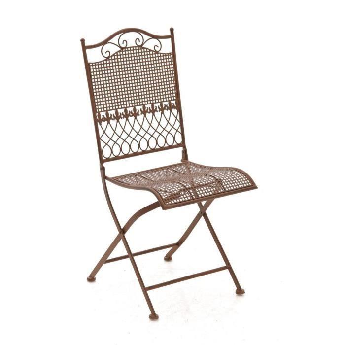 CLP Chaise nostalgique pliable KIRAN, en fer forgé, chaise en fer style nostalgique, ultra-élégant, 6 couleurs au choix91 cm - ma...