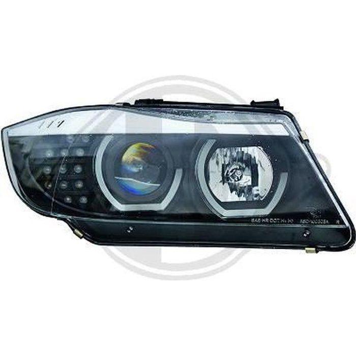 Paire de feux phares BMW serie 3 E90 LCI berline 09-12 angel eyes noir (380)