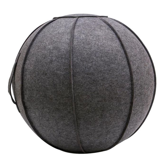 65cm Senti Assis Ball Chair Protection, durable Auto-Debout Ballon D'exercice Équilibre Pilates Yoga Boules Couverture Gris foncé