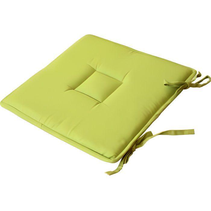 Galette de chaise carrée - VERT ANIS