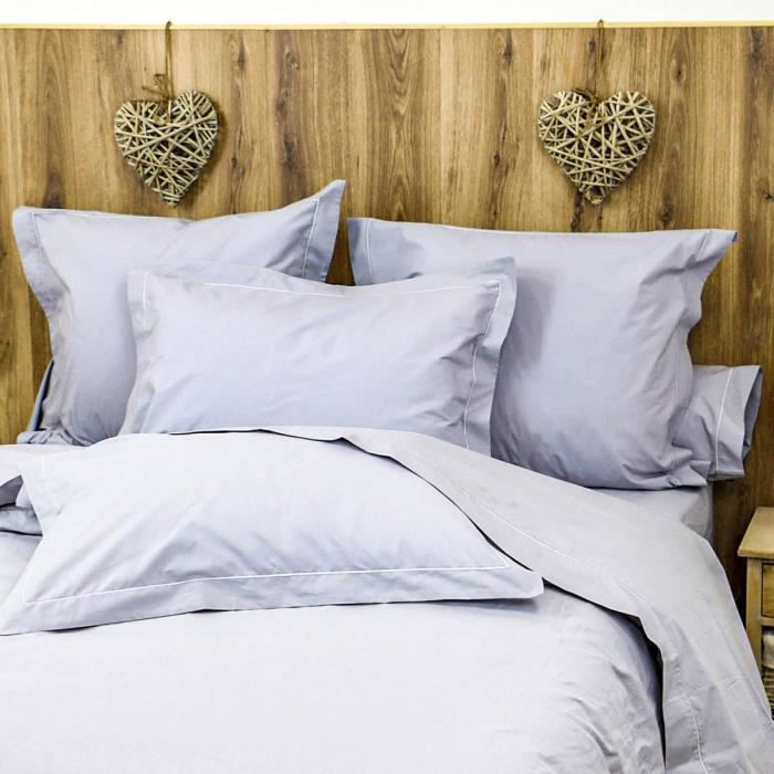 LINANDELLE - Parure housse de couette coton Percale 200 fils DESIREE - Gris - 240x280 cm