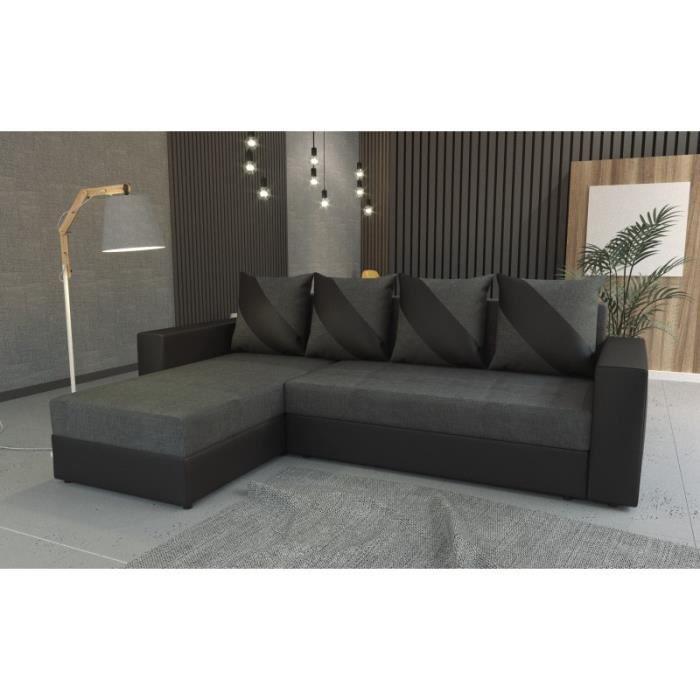 Canapé d'angle convertible gris foncé et noir
