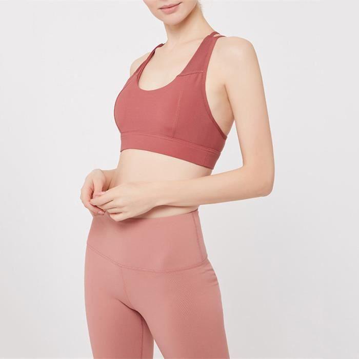 Brassiere De Sport femme - Brassiere De Sport 2 pièces taille haute respirant - rouge YH™