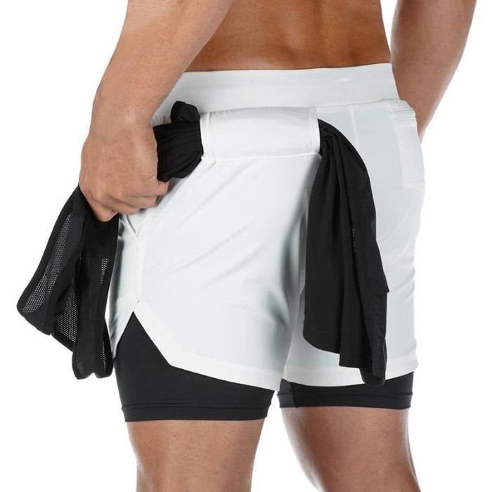 Pantalon de gym court,Short de sport doublé 2 en 1 pour homme,nouveauté, vêtement de jogging, de course, de fitness, de gym ou d'en