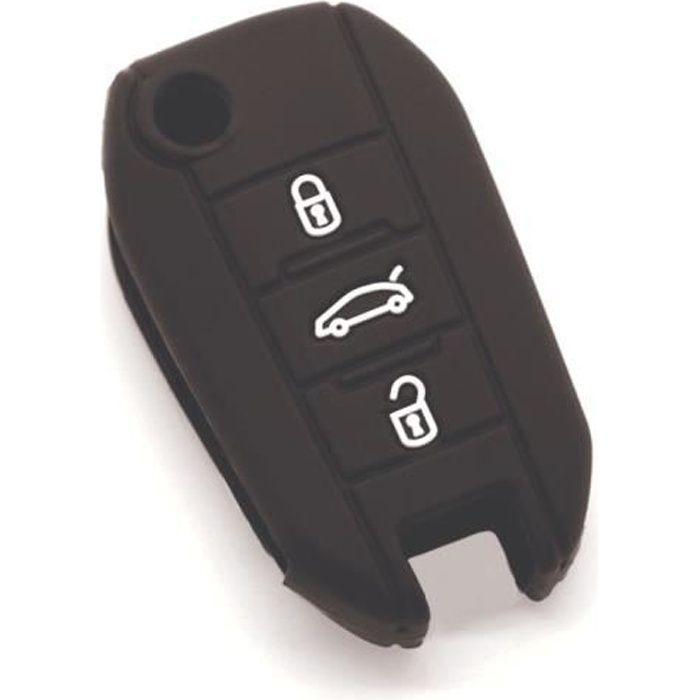 Housse de clé en silicone pour Peugeot 208 308 508 2008 3008 5008 bleu-fonce