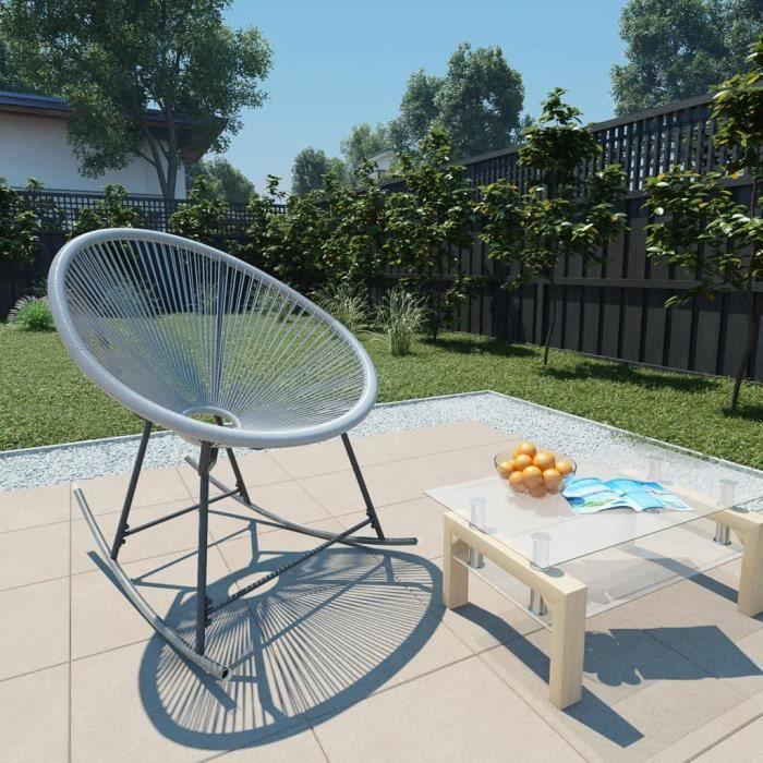 Chaise à bascule Fauteuil à bascule relax Comfortable d'extérieur forme de lune Gris Résine tressée