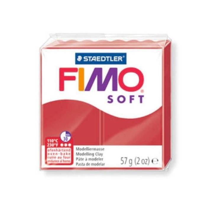 Pâte Fimo soft couleur Rouge Noël n°2, Pain polymère de 57g à cuire au four - Unique