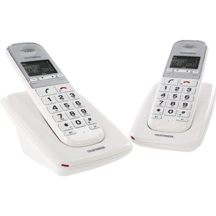 TELEFUNKEN Duo Téléphones fixes TD302 Pillow senior grosses touches