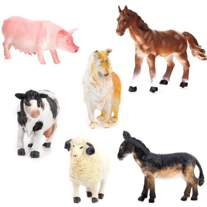 6 pcs Modèle Animal Léger Pratique Vivid Ferme Figure Jouet Porc Chien Vache pour Enfants