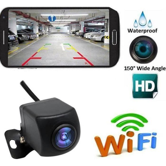 QQ38489-Caméra de recul Caméra de recul sans fil HD WIFI Caméra de recul pour voiture, véhicules, Caméra de recul WiFi avec vision